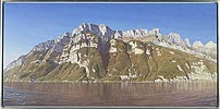 Churfirsten and Walensee, painted in acrylic on canvas by Peter Young, 2005
